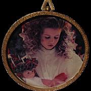 REDUCED Vintage Gold Tone Metal Round Easel Back Photo Frame