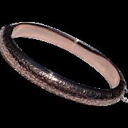 REDUCED English 9 K Gold Hand Engraved Hinged Chester 1983 Bangle Bracelet