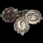 Vintage Silver Tone Metal Sliding Catholic Religious Medal