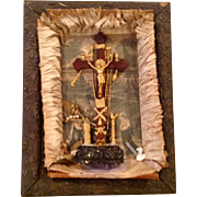 Original Shadowbox Crucifix Scene And Instruments Of The Passion