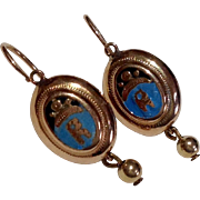 Victorian 14 K Yellow Gold Enamel Back To Front Earrings