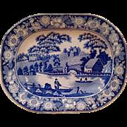 Victorian Blue & White Wild Rose Staffordshire Platter Ca. 1840