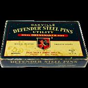 Vintage Oakville Defender Steel Pins In Original Box