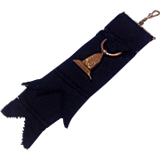 Victorian Gold Filled Mourning Fob On  Black Grosgrain  Ribbon