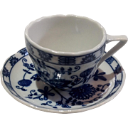 Vintage Vienna Woods Blue Onion Demi Tasse Cup & Saucer