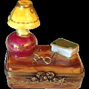 Vintage French Limoges Handpainted Desk Motif Hinged Box