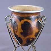 Decorative Art Gourd Vase in Stand