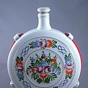 SALE Vintage Hollohaza Hungary Hand Painted Flask Decanter