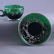 Vintage Green Glass Demitasse Cup And Saucer With Silver Overlay