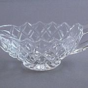 Vintage Pressed Glass Creamer In A Diamond Pattern
