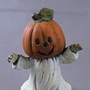 Vintage Ceramic Ghost Figurine With Pumpkin Head