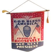 SOLD RARE FDR banner from His First Campaign in 1933.