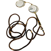 """19C French Lorgnette w. 50"""" Woven Hair Chain """"Think about me"""""""