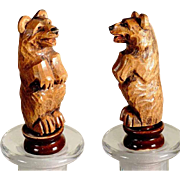 Treen Bottle Stopper Hand Carved Circus Bear Black Forest
