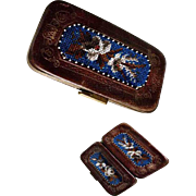 Late Victorian Era Cigar Case Leather and Beadwork