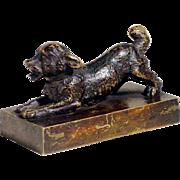 19C Charming Little Dog Figurine Paperweight Vienna Bronze