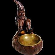 Desk Servant Dwarf w. Brass Tray Hand Carving