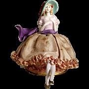 German Half Doll Sitting on Box ca. 1920