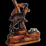 SOLD Hand Carved Desk Servant Chamois Black Forest ca. 1920