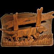 Letter or Magazine Rack Hand Carved Dog Setter Black Forest ca. 1900