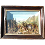 SALE Early Biedermeier Diorama Shadow Case Landscape Bog and Grass