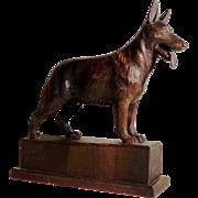 SALE Large Hand Carved German Shepherd Male Dog  ca. 1920