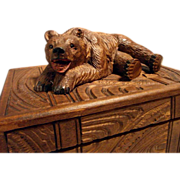 SOLD Hand Carved Black Forest Casket Box Bear