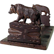 Hand Carved Book Slide Expandable Book Rack Bears ca. 1900