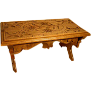 SOLD Hand Carved Foot Stool Edelweiss Black Forest ca. 1900