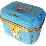 19C French Hand Painted Opaline Casket – Amazing!