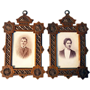 SOLD Pair of Matching Wall Frames Hand Carved ca. 1880