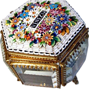 SOLD 19th Century Micro Mosaic Casket Raised Flower Motifs Grand Tour Venice