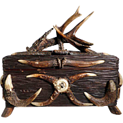 SOLD Rare Chase Box Chest Carved Wood and Antlers Hunt