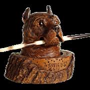 SOLD 19th Century Fantastic Figural Inkwell Doberman Head Black Forest