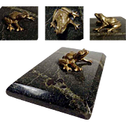Lovely Old Paperweight Marble and Bronze Frog