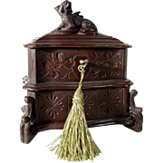 Hand Carved Jewelry Casket Miniature Dog Black Forest ca. 1880