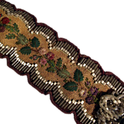 SALE Late Victorian Era Hand Stitched Bell Pull Bead Work