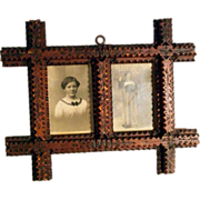 SOLD 19C Hand Carved Double Picture Frame Tramp Art