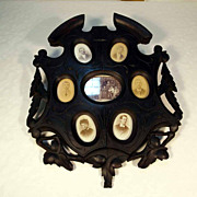 SOLD 19th Century Family Frame Hand Carved Black Forest