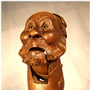 Stunning German Hand Carved Nut Cracker Character Head ca. 1880 Black Forest