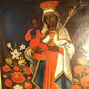 SOLD Gorgeous Black Virgin Old German Master Painting ca. 1750