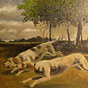 Running Chase Dogs – Oil painting ca. 1920
