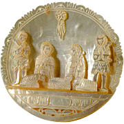 Vintage Nativity Scene Folk Art Carving Mother of Peal