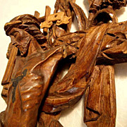 SOLD 19th Century Crucifix Passion Instruments German Folk Art Carving