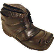 Hand Carved Inkwell  or Desk Servant Hiking Boot with Sox