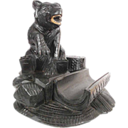 Charming Hand Carved Desk Set Black Bear Black Forest ca. 1880/1900
