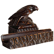 Hand Carved Desk Set Eagle Black Forest