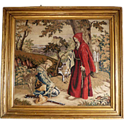 19th Century Embroidery Monk Hunter and his Dog Castle Ruin Wool Silk Glass Beads