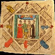 Rare Baptism Letter Fraktur Germany 1822