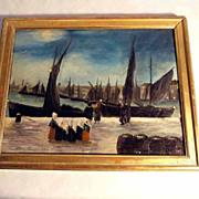 Harbor Scene Oil on Panel ca. 1930 Signed